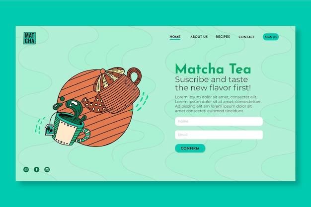 Modello di pagina di destinazione del tè matcha