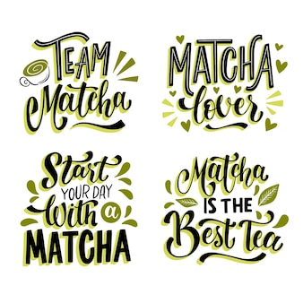 Matcha tea lettering collection