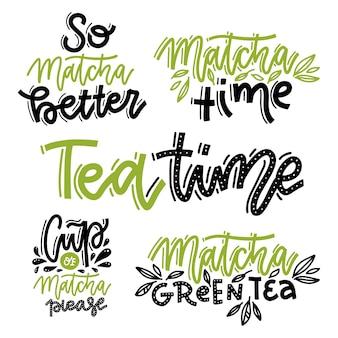 Matcha tea lettering set. tea time, so matcha better