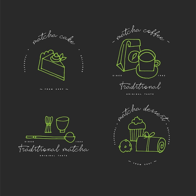 Matcha tea linear design elements, set of matcha products emblems, symbols, icons or tea, coffee or dessert labels and badges collection. matcha signs template or logo