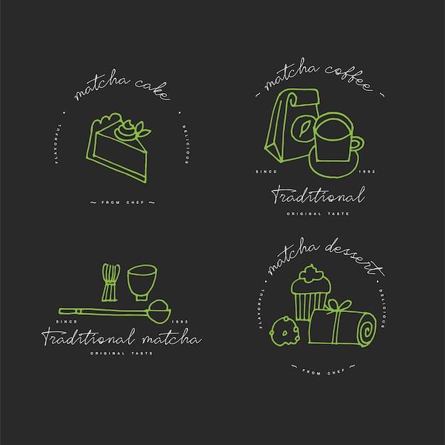 말차 선형 디자인 요소, 말차 제품 엠블럼, 기호, 아이콘 또는 차, 커피 또는 디저트 라벨 및 배지 컬렉션 세트. 말차 표지판 템플릿 또는 로고