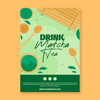 Matcha tea poster template