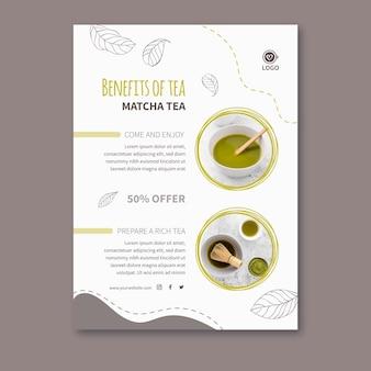 Modello di poster di tè matcha