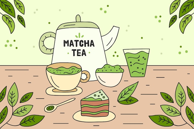 Matcha tea products assortment