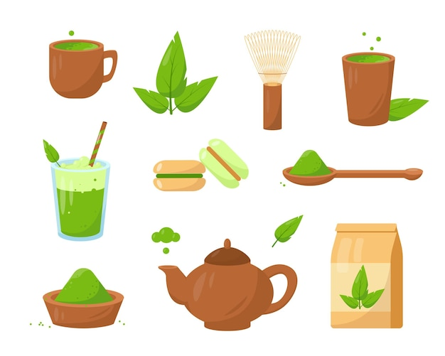 Matcha tea products. set of spoon, whisk, green tea and desserts.