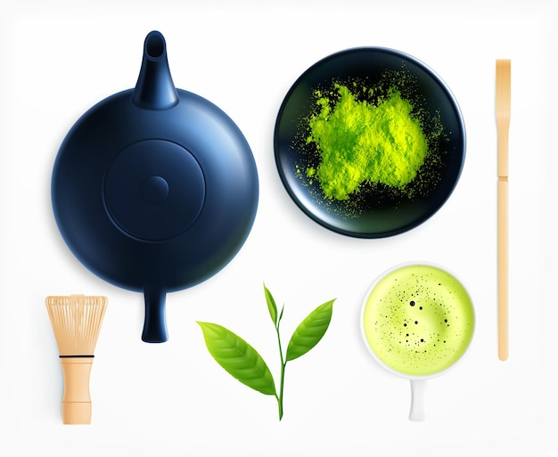 Matcha tea realistic collection with isolated images of teapot cup and powder with leaves and stirrer
