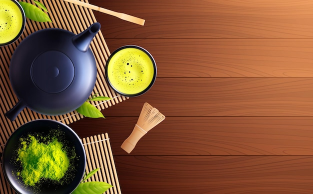 Matcha tea realistic illustration with top view of wooden table with tea set cups and powder