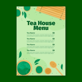 Matcha tea restaurant menu template