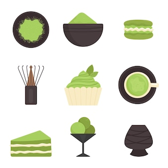 말차, 요소 집합. 일본 전통 다도. 녹차, 건강 식품, 디저트, 컵, 찻 주전자. 플랫 스타일의 일러스트레이션 프리미엄 벡터