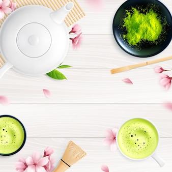 Matcha tea set with purple petals illustration