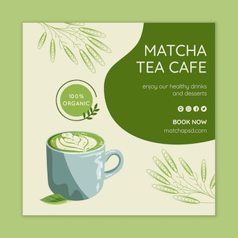 Matcha tea square flyer template