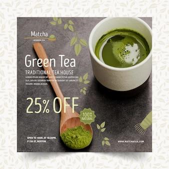 Matcha tea squared flyer template