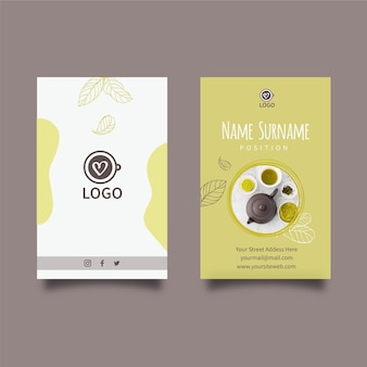 Matcha tea vertical business card template