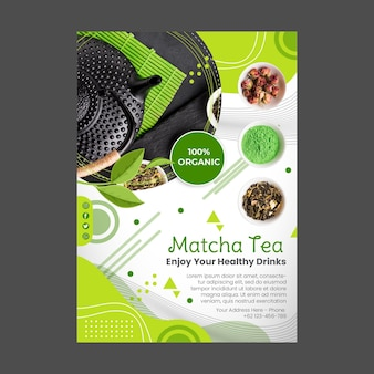 Disegno del modello di volantino verticale del tè matcha