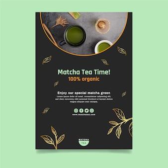 Modello di volantino verticale di tè matcha