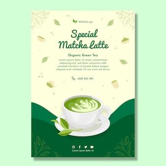Matcha tea vertical flyer template
