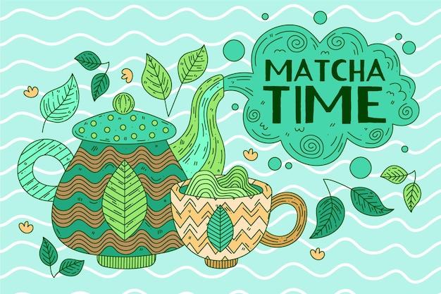 Обои чай матча