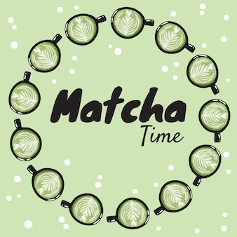 Matcha time banner with cups of green coffee