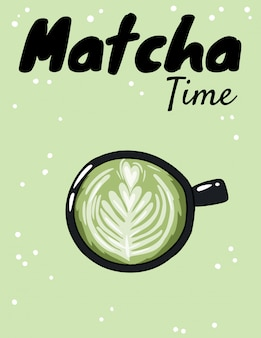 Matcha time cup of green coffee.