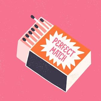マッチ箱のイラスト。完全一致の見積もり。図面と手描きのベクトルレタリング。愛の概念。カードまたは結婚式の招待状のテンプレート。