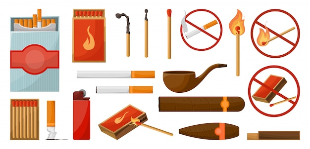 Matches big set. burning match with fire, opened matchbox, charcoal. lights. sign no fire. vector illustration cartoon style isolated.