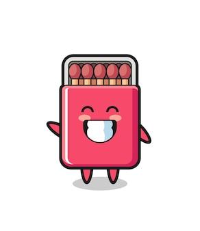 Matches box cartoon character doing wave hand gesture , cute design