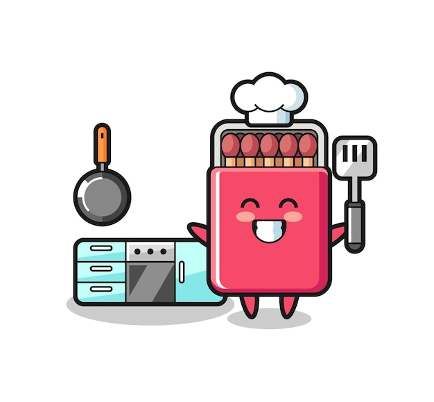 Matches box character illustration as a chef is cooking , cute design