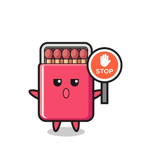 Matches box character illustration holding a stop sign , cute design