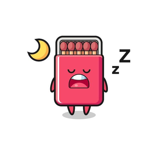 夜寝るボックスキャラクターイラストにマッチ、キュートなデザイン
