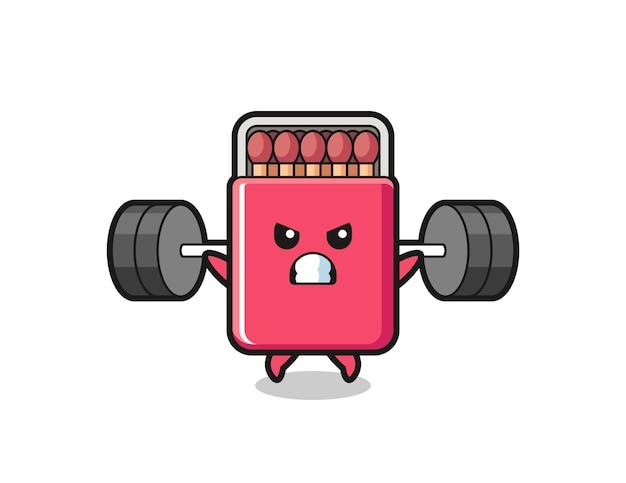 Matches box mascot cartoon with a barbell , cute design