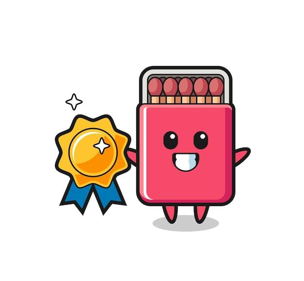 Matches box mascot illustration holding a golden badge , cute design