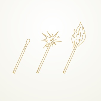 Matches, lighted match and burning match, sketch hand drawn