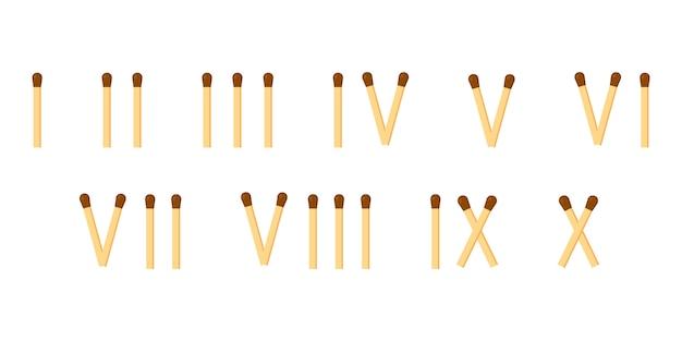 Matches. roman numerals. mathematics