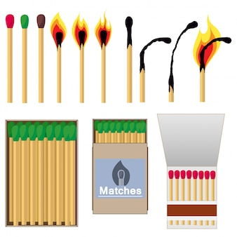 Matches in simple modern flat design