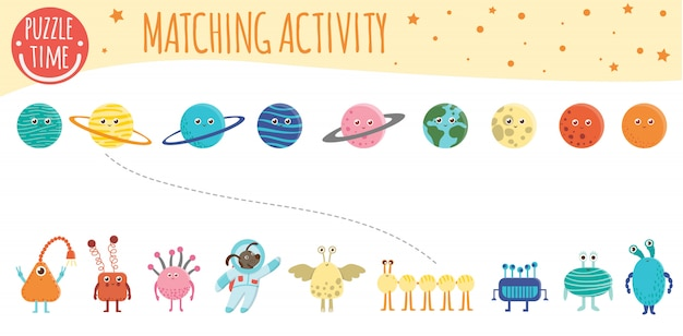 Matching activity for children with planets, aliens and astronaut. space topic. cute funny smiling characters.