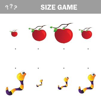 Развивающая игра для детей. матч мультяшного червяка и яблока по размеру. занятия для дошкольников и малышей.