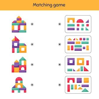매칭 게임. 아이들을위한 빌딩 블록. 유치원, 유치원 및 취학 연령을위한 워크 시트.