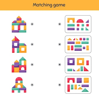 Matching game. building blocks for kids. worksheet for kids kindergarten, preschool and school age.