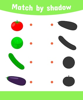Matching game for children. connect the shadow of the vegetables.