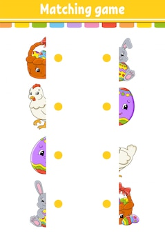 Matching game. draw a line. easter theme. education developing worksheet. activity page with color pictures.