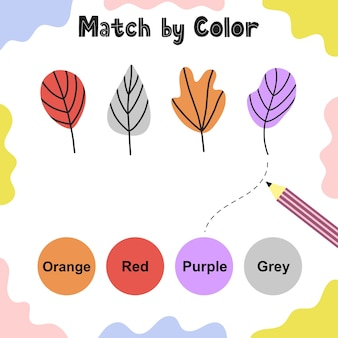 아이들을위한 매칭 게임. 잎에 맞는 색상을 선택하십시오. 활동 페이지. 유아를위한 학습 색상 교육 워크 시트.