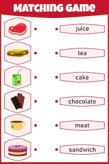 子供のためのマッチングゲーム。絵と言葉をつなぐ。子供のための教育ワークシート。