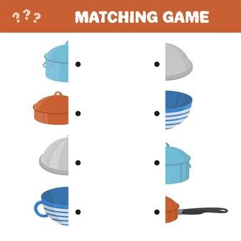 Подходящая игра для детей. найдите подходящую пару для каждой части, развивающая игра для детей