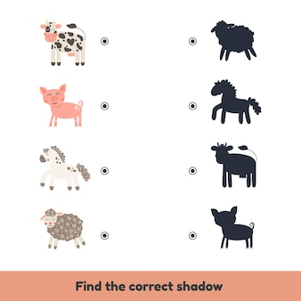 就学前と幼稚園の子供向けのマッチングゲーム。正しい影を見つけてください。かわいい家畜。