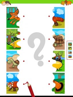 Matching game jigsaw puzzles of animal