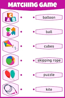 Matching game for kids. connect picture and words. educational worksheet for children.