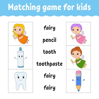 Matching game for kids. find the correct answer. draw a line. learning words.