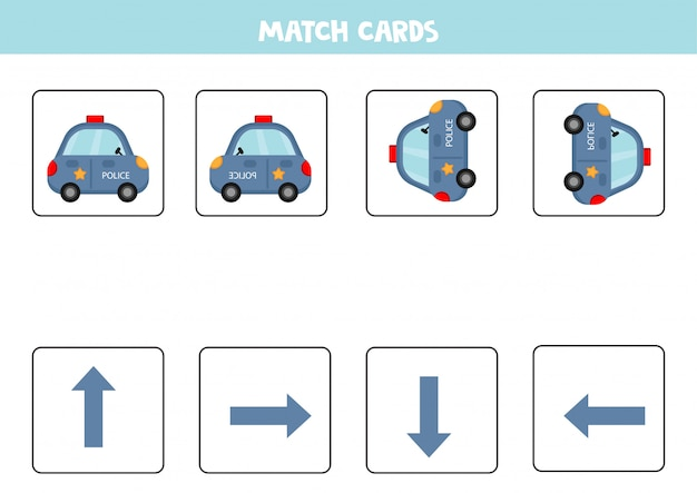 Matching game for kids. match orientation and police car.
