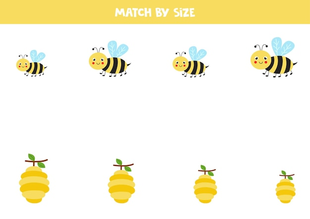 Matching game for preschool kids. match bees and hives by size.