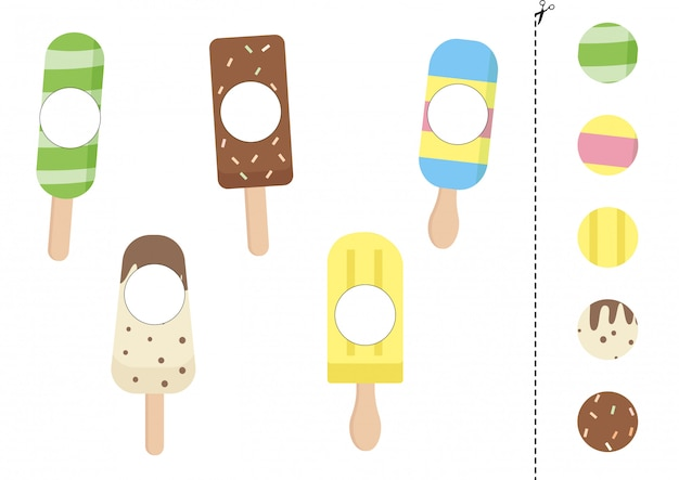 Matching game of sweet ice creams of different forms.